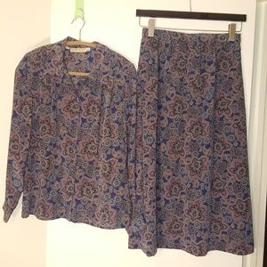 Vintage 80's Paisley Skirt and Blouse Set